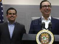Treasury Secretary Steve Mnuchin and Puerto Rican Governor Ricardo Rossello.