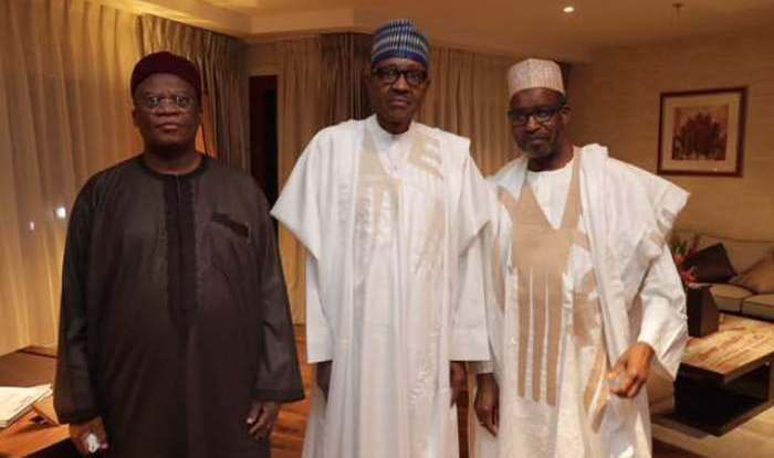 Nigerian President Buhari (center) with leaders of the Lake Chad Basin Commission (Lawrence Freeman)