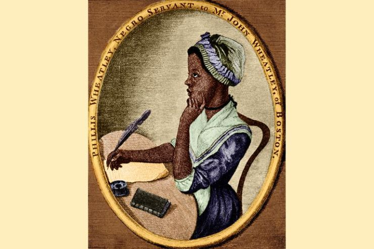 Phillis Wheatley, as portrayed by Scipio Moorhead in the frontispiece to her Poems on Various Subjects, Religious and Moral.