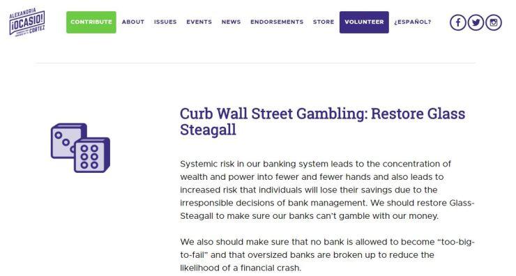 Ocasio-Cortez Campaign Website on Glass-Steagall (screen shot)