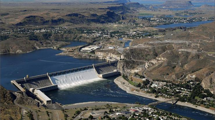 The Grand Coulee Dam, one of the major power projects of the New Deal.