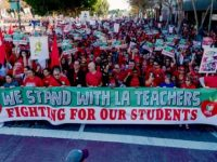 A demonstration on the eve of the LA Teachers' Strike