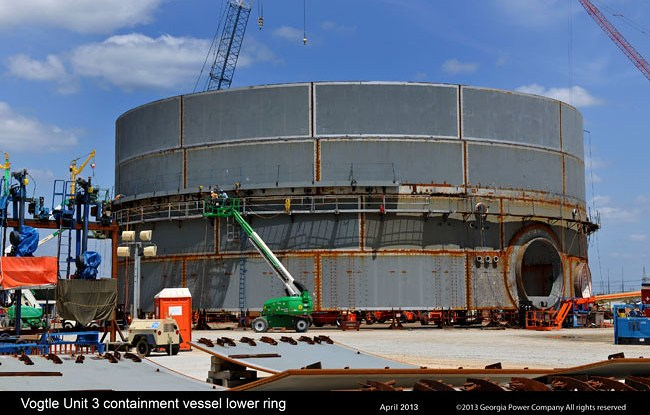 The Vogtle nuclear plant, under construction in Georgia, is the only plant being built in the U.S.