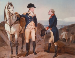 A painting of Washington and Hamilton at the National Heritage Museum, Lexington, Mass.