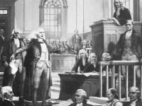 Andrew Hamilton arguing for Zenger's freedom