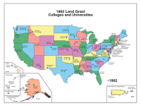 A map showing the original land grant colleges.