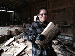 My beautiful wife Lisa helping me procure firewood from a local sawmill.