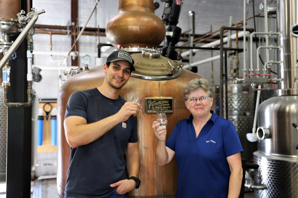 Ben Milam Whiskey Jordan and Marlene in Distillery