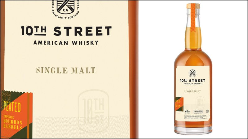 Up close label and full glass bottle of 10th Street whiskey