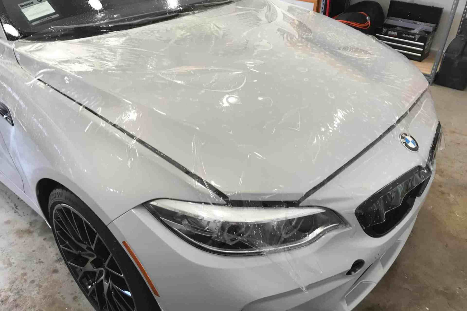 XPEL Paint Protection installation on white Bentley