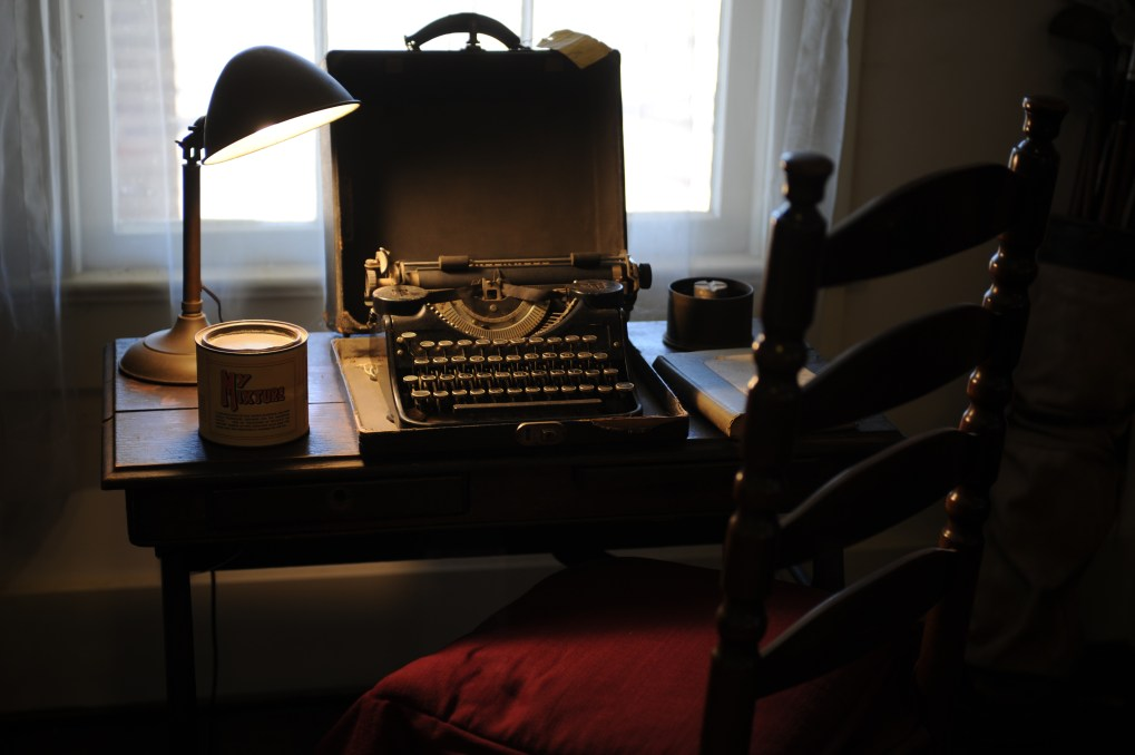 A typewriter on a desk in Faulkner's Rowan Oak