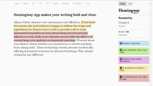 The Hemingway App grades your writing for clarity