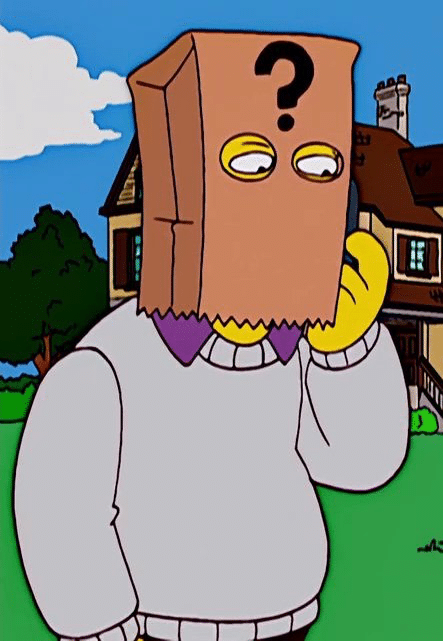 Thomas Pynchon's character on The Simpsons, who always wears a bag over his head.