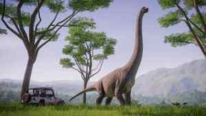 Concept image of Safari Tour vehicle meeting a Brachiosaurus