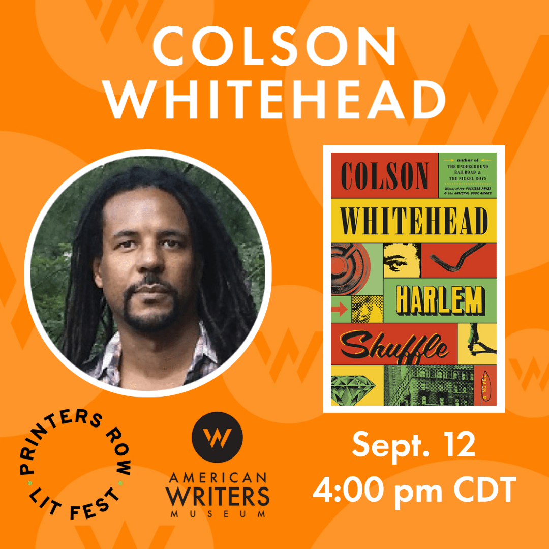 Photo of Colson Whitehead and book cover of Harlem Shuffle