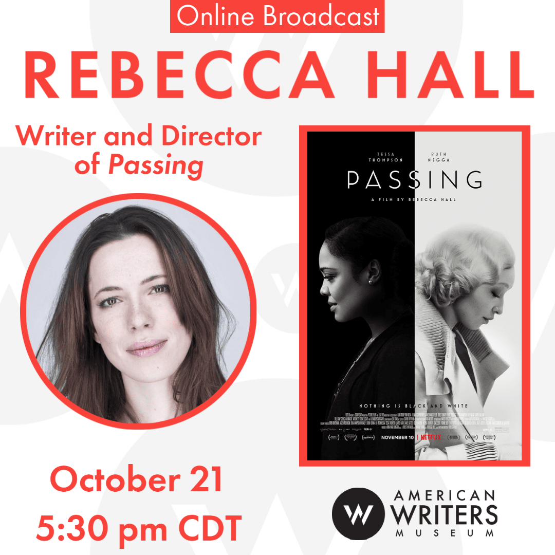 Photo of Rebecca Hall and film poster of Passing