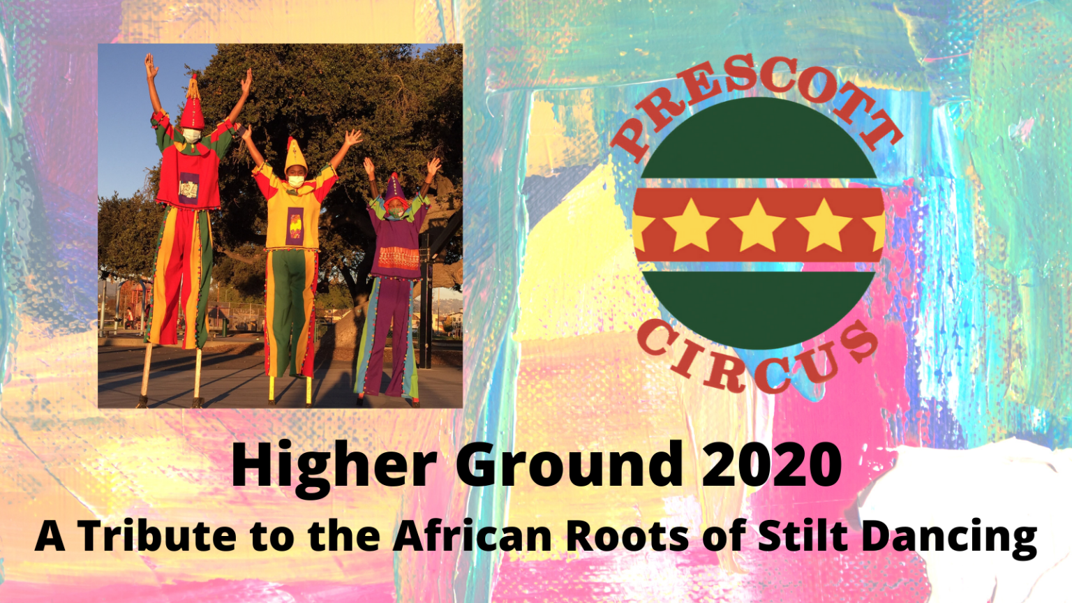 Poster for Higher ground showing three kids on stilts in costumes
