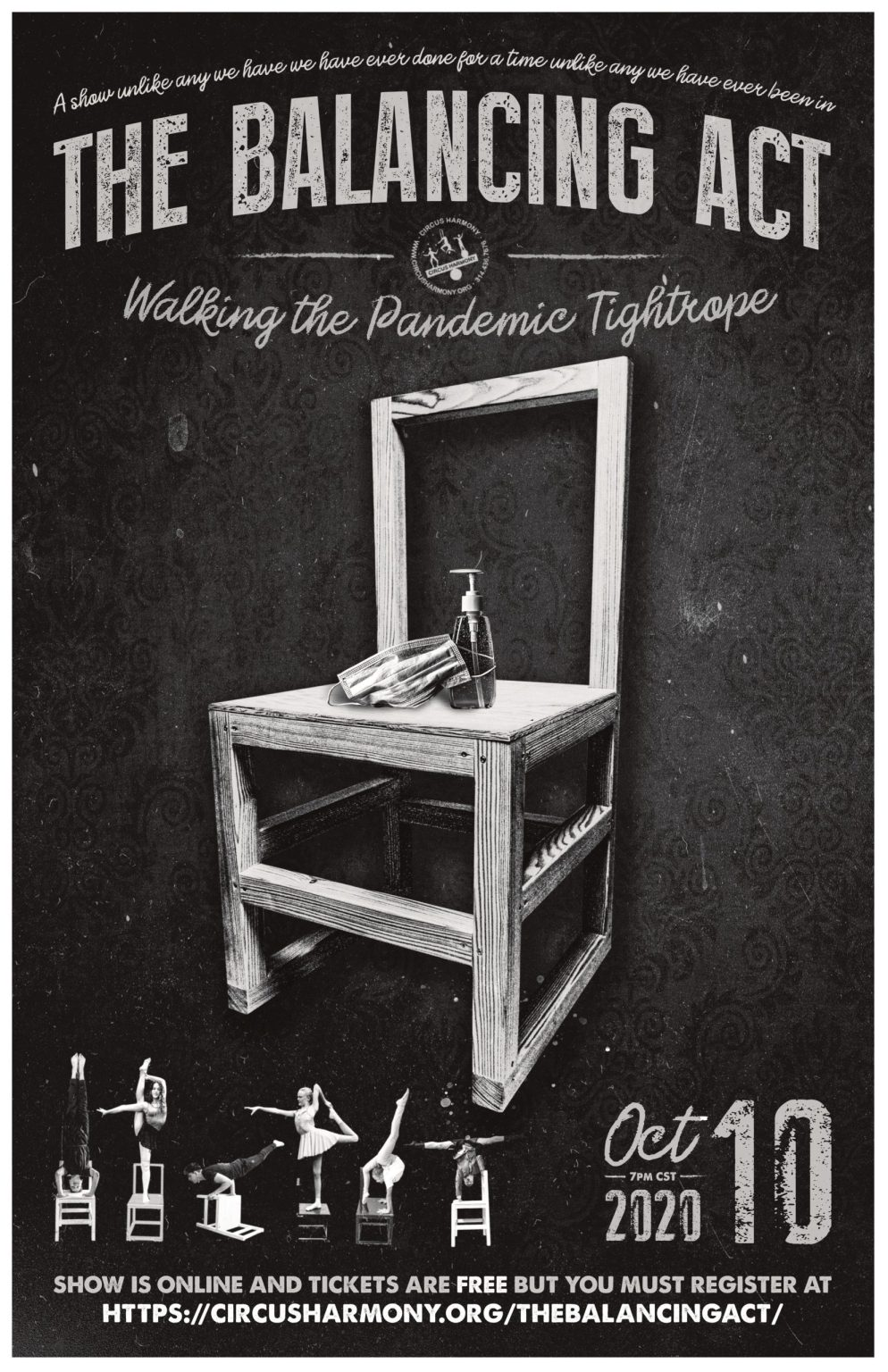 balancing act show poster of a chair with a mask and sanitizer on it