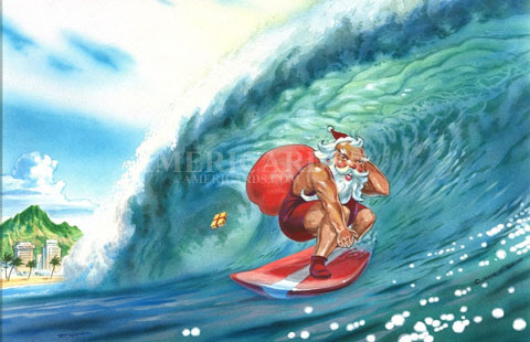 Christmas Card 17 Surf Is UP And Santa Catches The