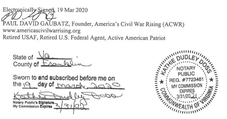 March 19, 2020 DG Sworn Affidavit