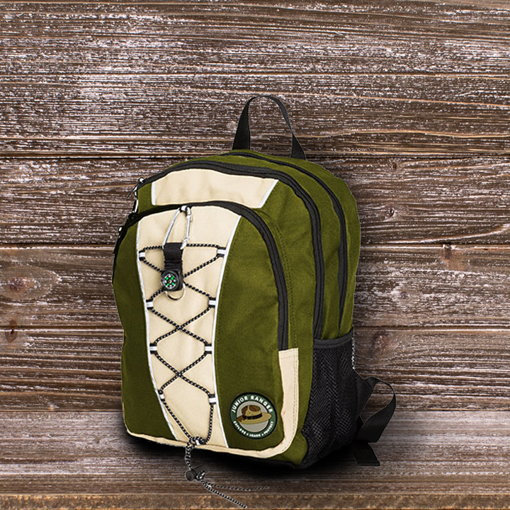 backpack with Junior Ranger logo on it