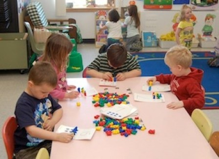 Students in Houlton Elementary School's pre-kindergarten program participate in a number-learning activity on April 6, 2011.