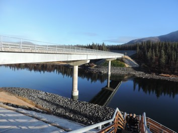 Wood River Bridge completed with stairs to river
