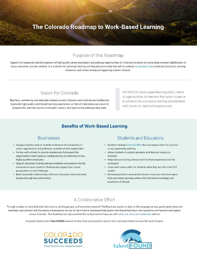 Colorado Roadmap to Work-Based Learning