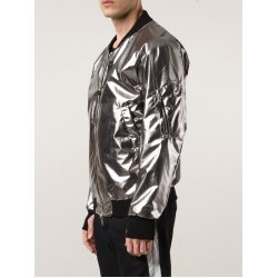 11 By Boris Bidjan Saberi Silver Satin Bomber Jacket  For Men