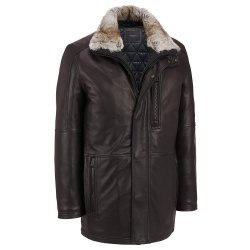 BROWN LEATHER CAR COAT FUR COLLAR