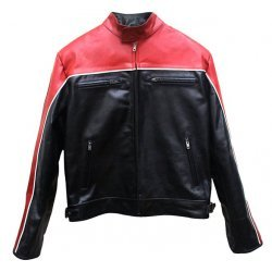 Red And Black Biker Leather Jacket For Men