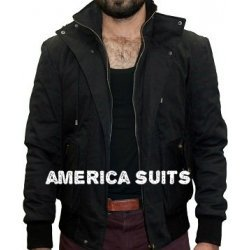 Black Cotton Jacket For Men