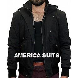Black Cotton Jacket For Men