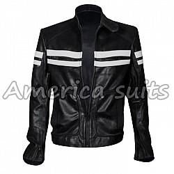 Fight Club Mayhem Black And White Leather Jacket For Men