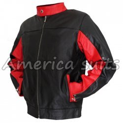 Batman Motorbike Black Red leather Jacket
