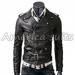 Slim Fit Belted Rider Black Jacket