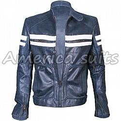 Fight Club Brad Pitt Blue White Leather Jacket
