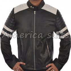 Fight Club Mayhem  Black Leather Motorcycle Jacket