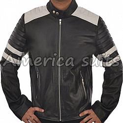 Fight Club Mayhem  Black Leather Motorcycle Jacket
