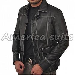 Brad Pitt Fight Club Tyler Black Leather jacket