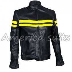 Mens Fight Club Mayhem Style Black Leather Motorcycle Jacket