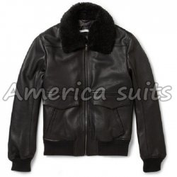 Black Flight Bomber Jacket - Pilot Leather Jacket