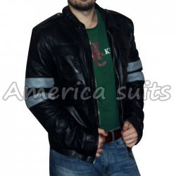 Mens Windy Denim Slimfit Black Leather Jacket