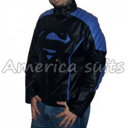 Superman Leather Jacket Black Embossed With Blue Stripes