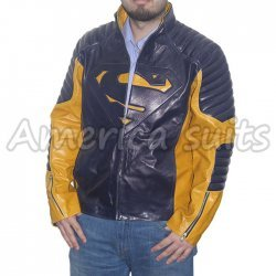 Superman Men Of Steel Smallville Blue And Yellow Leather Jacket