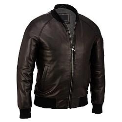 Contemporary Leather Varsity Bomber Jacket