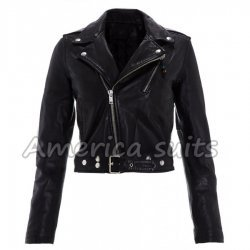 Cropped Black Emma Watson Leather Jacket