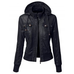 Double Collar Women Black Leather Jacket