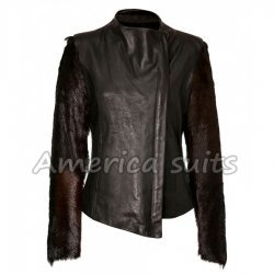 Fur Sleeve lindsay Lohan Leather Jacket