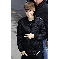 Handmade Justin Bieber Bomber Black Leather Jacket